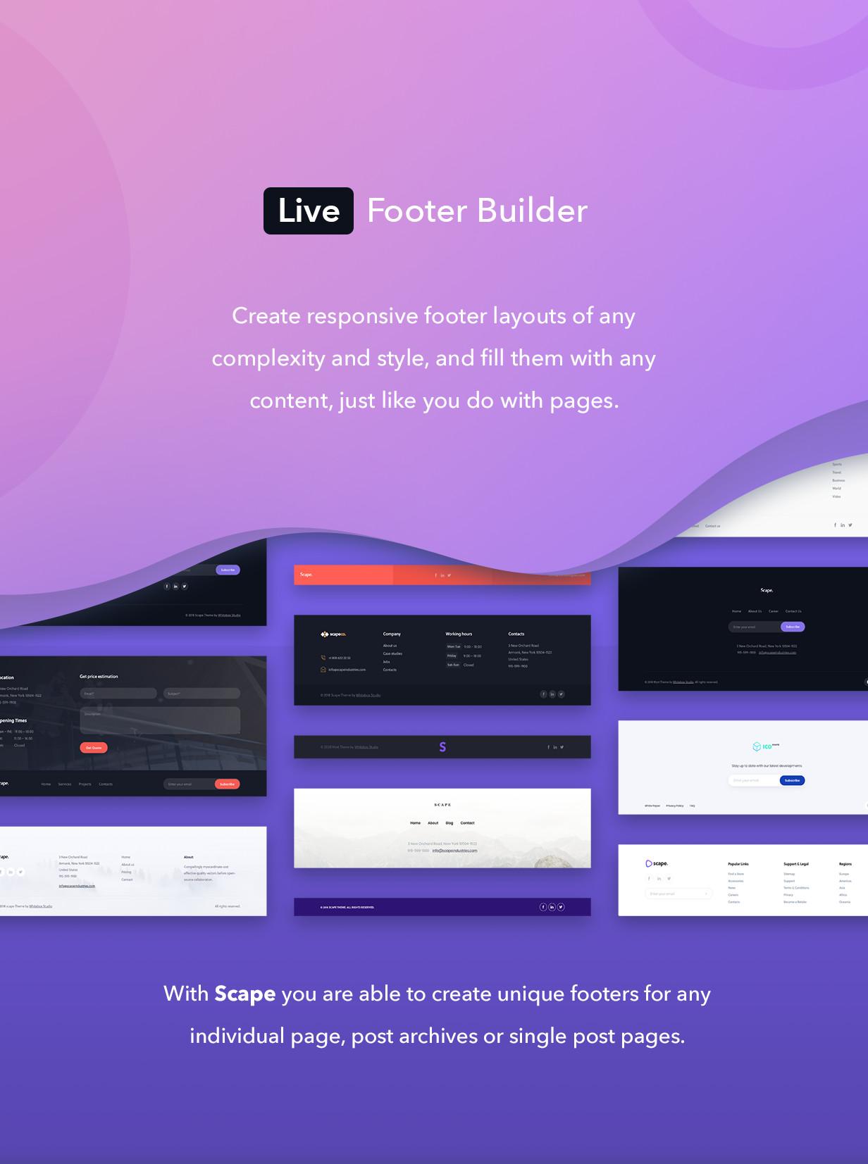 Live footer builder