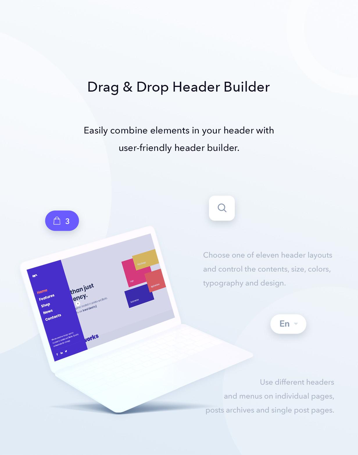 Drag and drop header builder