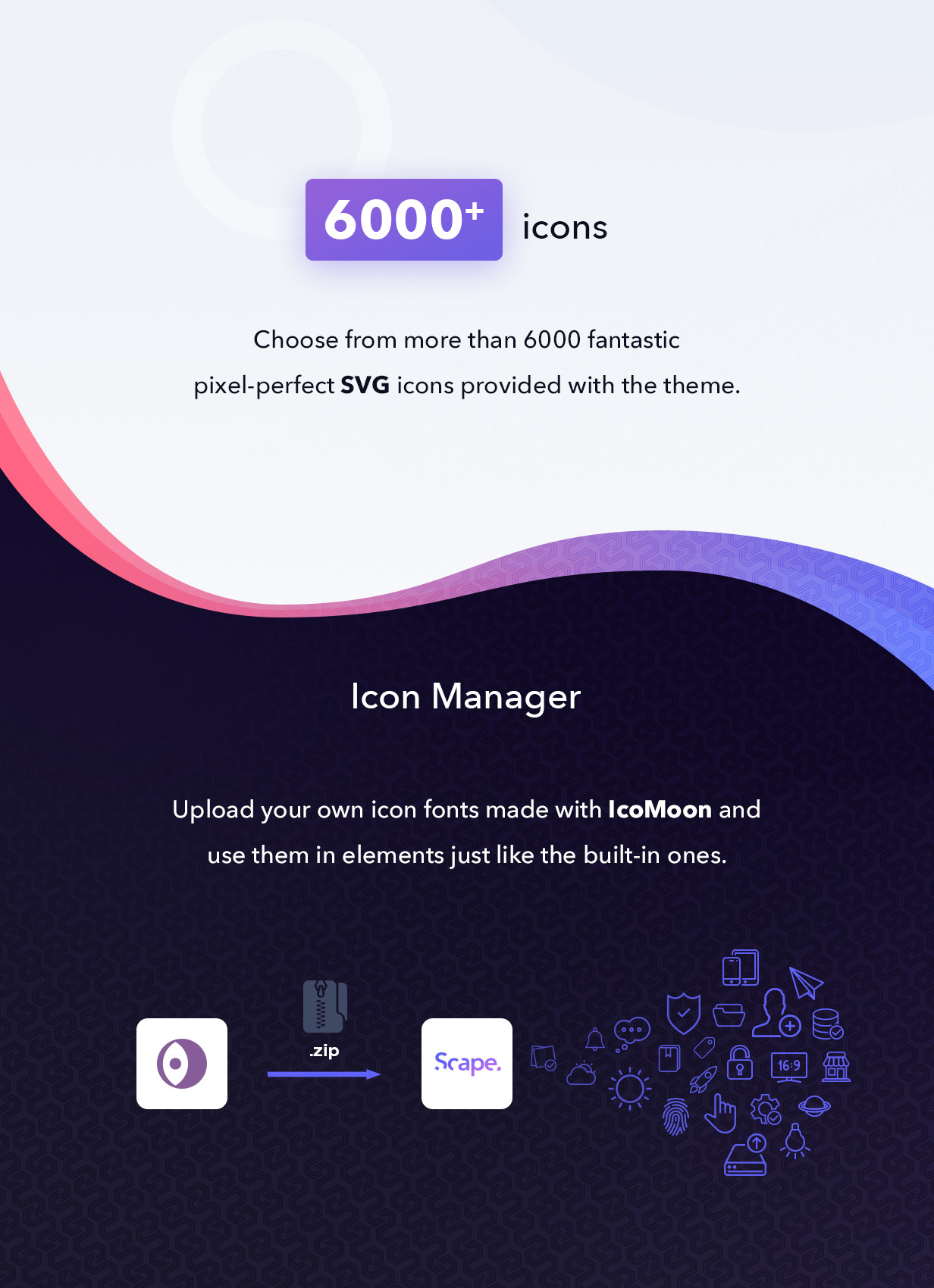 Built-in icons and icon manager